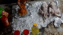 Country Foods _ Bangladeshi boy Cook chickens in the soil of mud.Bangladeshi Foo