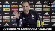 """ALLEGRI pre Juventus-Sampdoria """"Juve in crisi? A qualcuno il panettone è andato di traverso"""" Conferenza Stampa - Serie A 2018:19"""