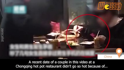 Man keeps checking phone during date, angry girlfriend throws it into boiling hot pot