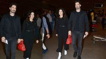Sunny Leone twins with husband Daniel Weber in all black style at airport; Watch Video | FilmiBeat