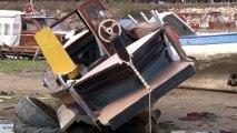 Antalya'da dev dalgaların batırdığı tekneler havadan görüntülendi