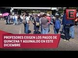 Maestros realizan bloqueos en Michoacán para exigir pagos pendientes