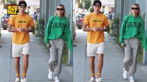 Justin Bieber Sings 'Sexual Healing' on Street While Hailey Baldwin Stands By