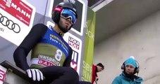 La belle gamelle d'un skieur de saut à ski qui n'arrive pas à s'arrêter à l'arrivée !