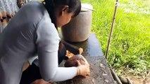 Thôn nữ nấu chè bắp và ăn ngay trên xuồng - The village cooks corn tea and eats it right on the canoe