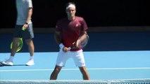 Federer, Nadal and Djokovic practice Sunday ahead of the Australian Open