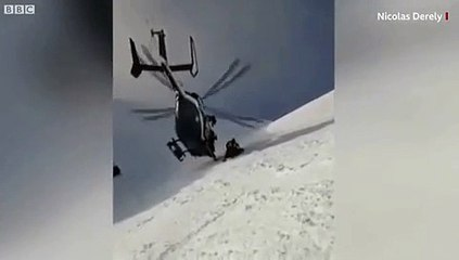 French Mountain Police Rescued an Injured Skier with Improbable Helicopter Technique