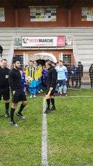 Nos U10 U11 et U13 à l'ouverture du match des séniors contre Nans les pins. Match gagné !merci à Aude et Cyril Rippert d'Intermarché Lorgues pour avoir offert les équipements de nos petits joueurs.