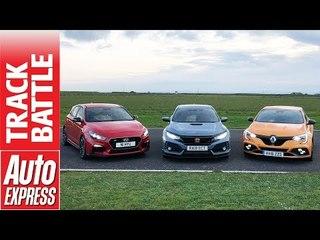 Honda Civic Type R vs Renault Megane RS vs Hyundai i30N - hot hatch Track Battle