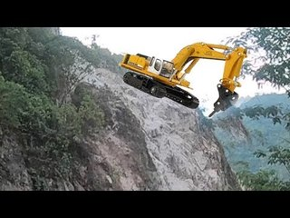 Excavator Works The Mountain And Roadside
