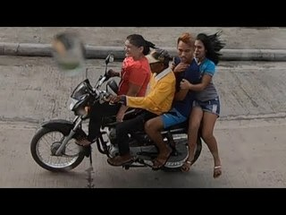 Funny Over Crowded Passengers On Motorbike And Truck