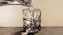 Comment dessiner un verre d'eau avec de l'eau qui s'y déverse  ||  How to Draw a Glass of Water with water pouring into it Narrated