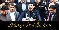 Minister Railways Sheikh Rasheed addresses media