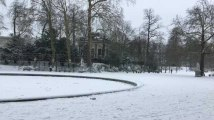 Bruxelles sous la neige ce mardi 22 janvier 2019. Parc de Bruxelles et Palais Royal (Vidéo EG)