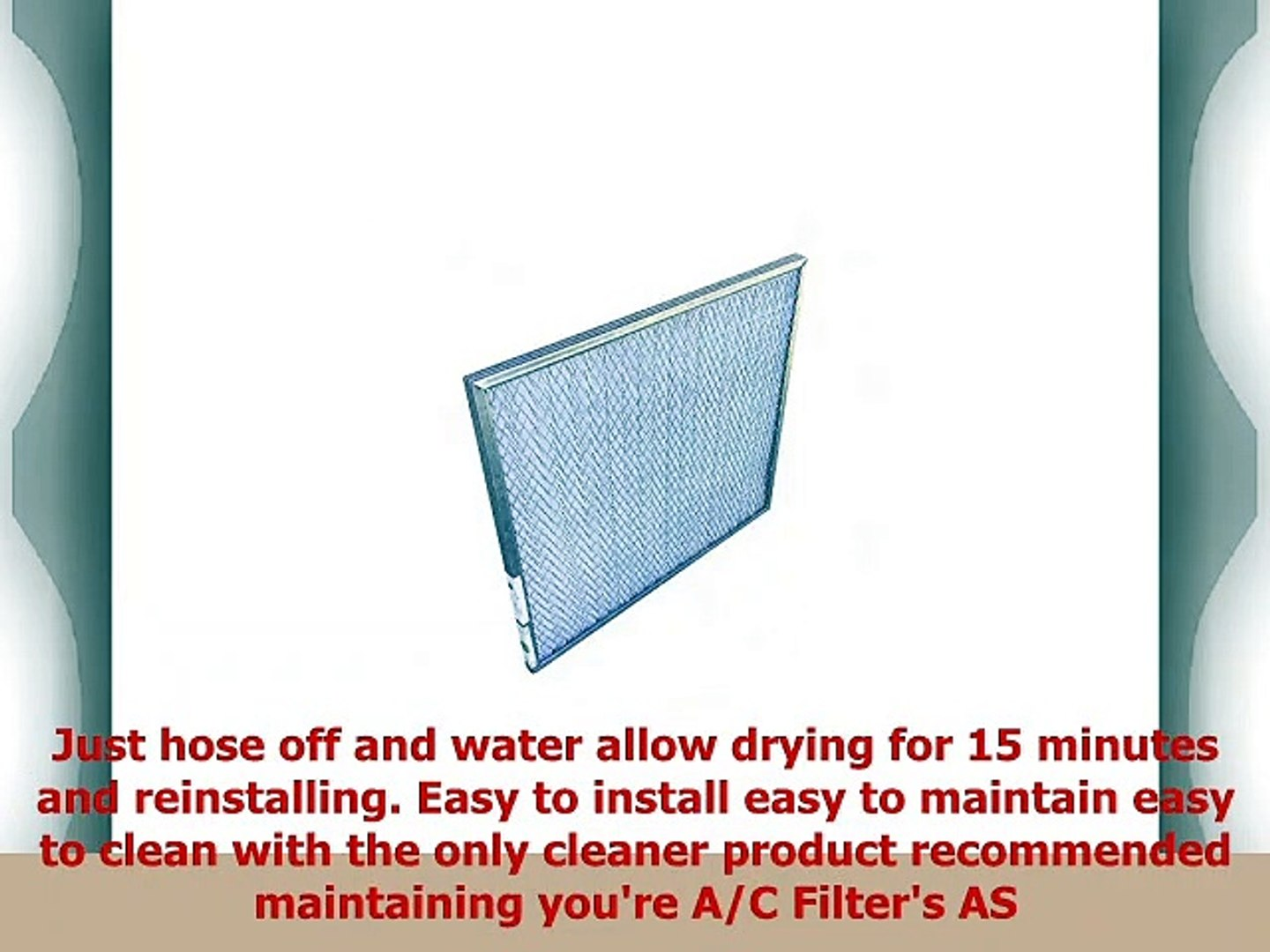 10x20x1 Washable Permanent A//C Furnace Air Filter Low Air Resistance