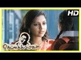 Deiva Thirumagal Tamil movie   scenes   Amala Paul intro and she becomes friends with Sara   Vikram