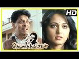 Deiva Thirumagal Tamil movie | scenes | Anushka decides to help Vikram | Santhanam