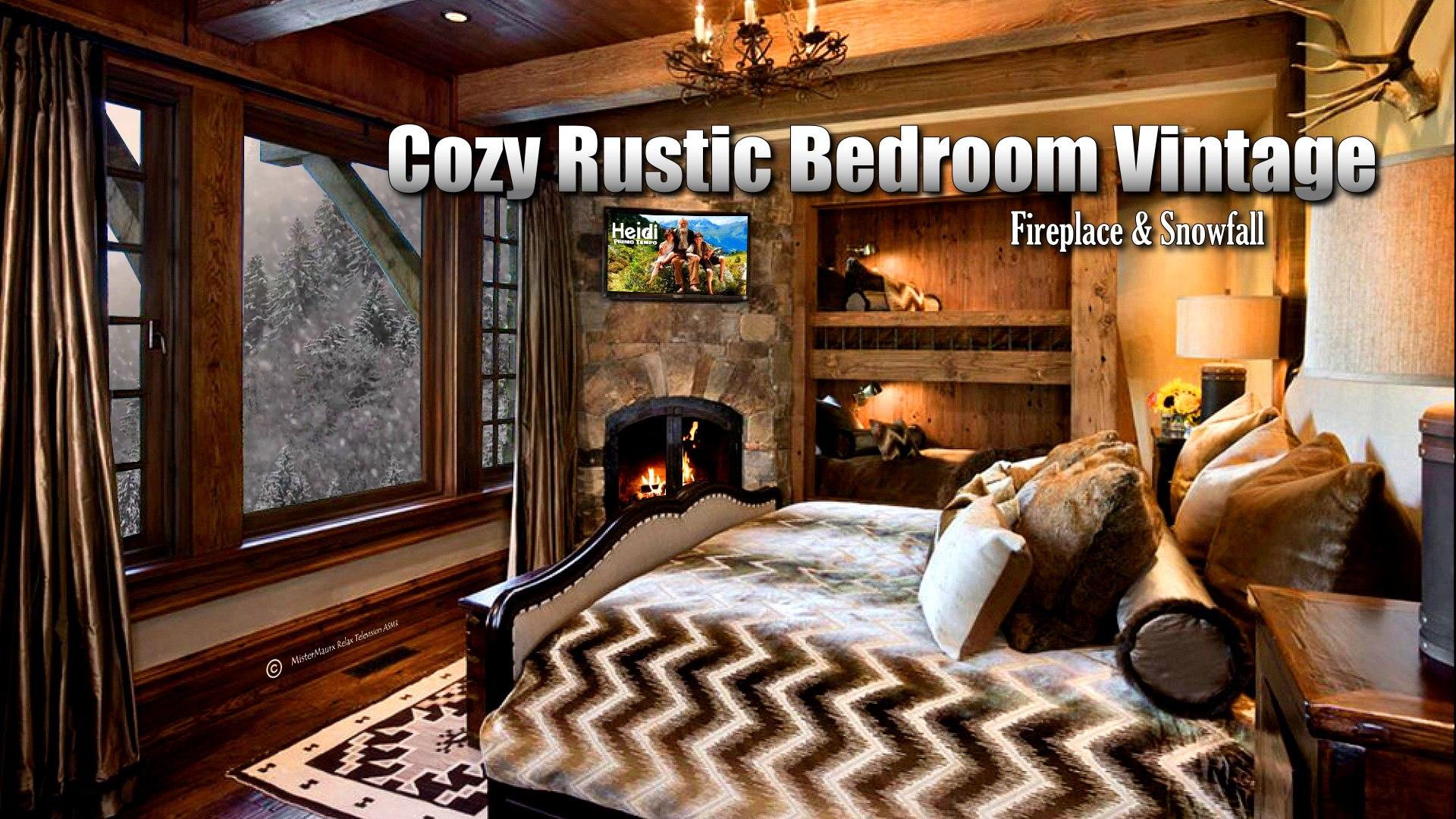 Fabulous Cozy Rustic Bedroom Vintage C Fireplace Snowfall Download Free Architecture Designs Rallybritishbridgeorg