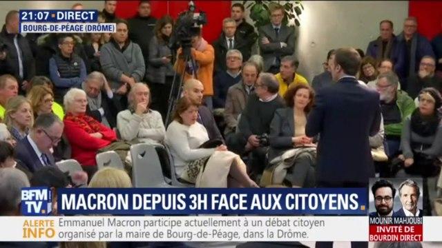 """Face à une gilet jaune, Emmanuel Macron indique qu'il """"aura aussi des débats avec citoyens, pas des gilets jaunes"""""""