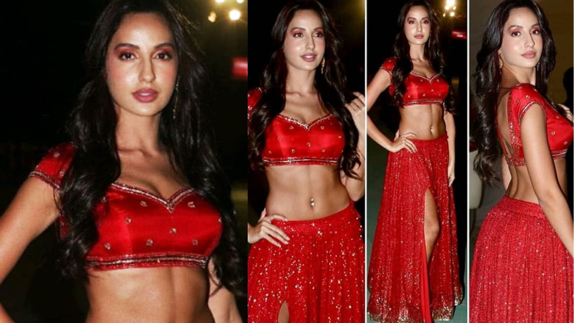 Nora Fatehi looks Super hot in Red outfit at Umang 2019 Awards | FilmiBeat