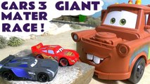 Giant Mater Race Off with Pixar Cars Jackson Storm Lightning McQueen and Thomas the Tank Engine Racing on a Race Track with an Accident - Which Vehicle will win in this Fun Family Friendly Full Episode English Story for kids