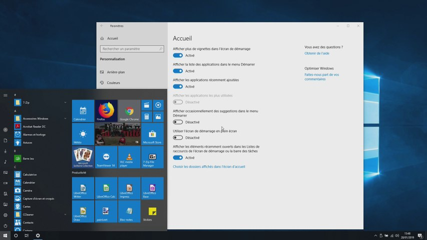 Gérer les icônes du bureau et du menu démarrer de Windows 10