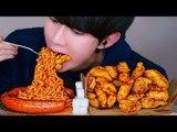 교촌 허니순살 치킨 핵불닭볶음면 킬바사소세지 리얼사운드 먹방 ASMR KOREAN FIRE NOODLE Chicken Social EATING SOUNDS Mukbang Show