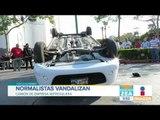 Normalistas protestan y vandalizan auto en el centro de Tuxtla Gutiérrez   Noticias con Paco Zea