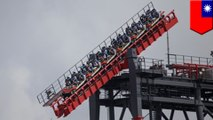 Riders hang 16 stories from tilting coaster after it malfunctions