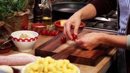 Rezept - Gnocchi-Auflauf mit Schinken, Pilzen und Tomaten