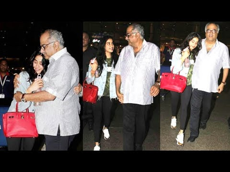 Doting Father Boney Kapoor Comes To Receive Daughter Jhanvi Kapoor At Mumbai Airport