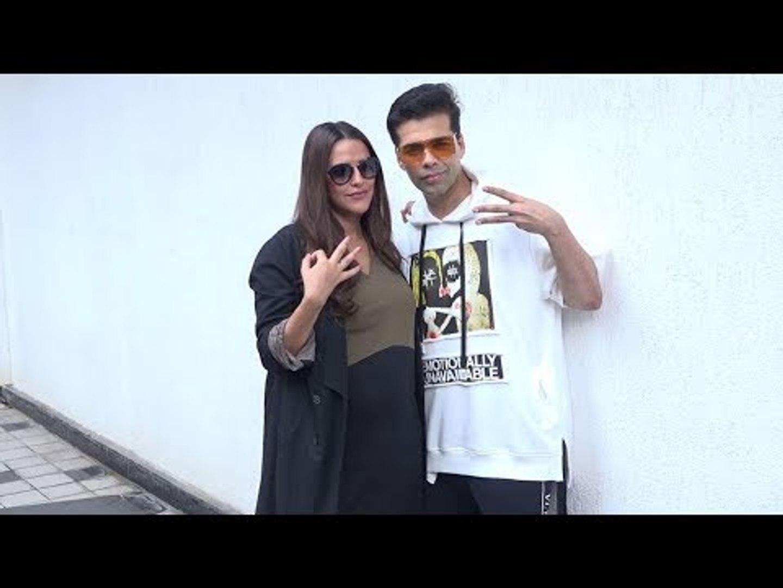 Pregnant Neha Dhupia shows FRIENDSHIP BONDING with Karan Johar  Recording Of No Filter Neha Season 3