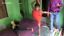 Jaw-dropping video shows India's 'rubber boy' doing extreme yoga