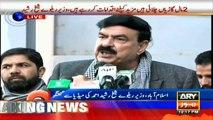 Railways Minister Sheikh Rasheed addresses media in Islamabad
