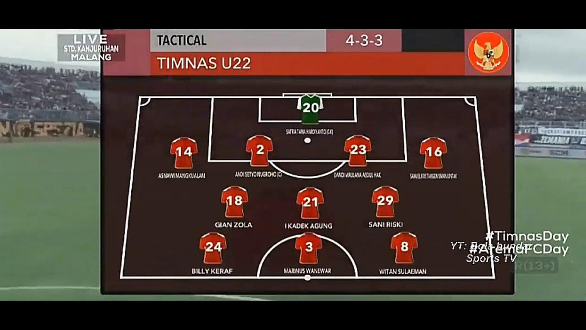 TIMNAS INDONESIA U 22 VS AREMA FC FT 1 - 1  LAGA  UJI COBA
