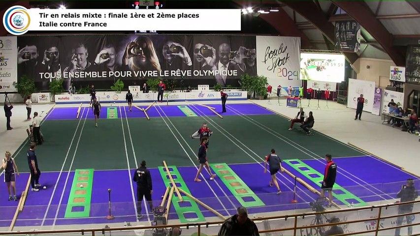 Finale (1ère et 2ème places) du tir en relais, France contre Italie, première Coupe du Monde Mixte de tirs sportifs, Saint-Vulbas 2019