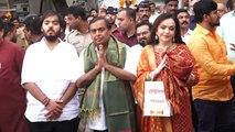 Mukesh, Nita Ambani visit Siddhivinayak to give son Akash's wedding card