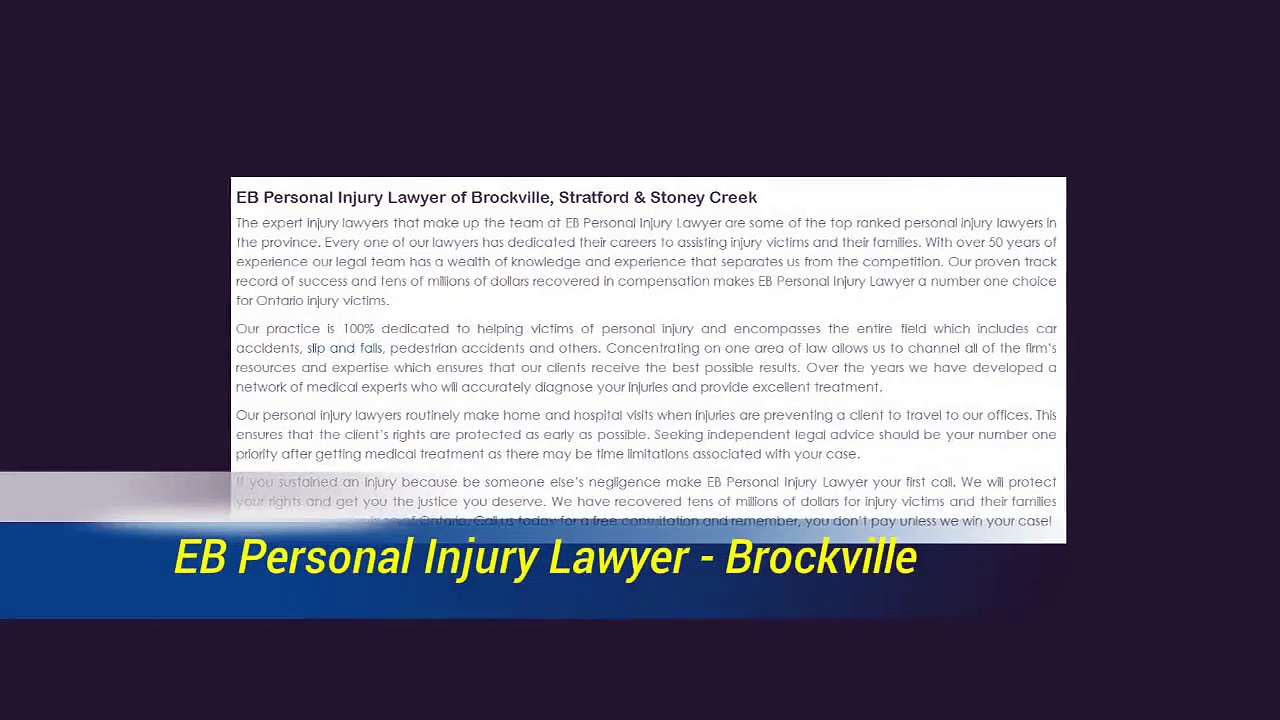 Personal Injury Lawyer In Brockville – EB Personal Injury Lawyer (800) 314-8169