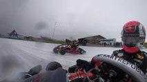 Max Verstappen y Pierre Gasly se divierten con un kart en hielo
