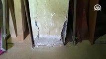 Kartal'da boşaltılan riskli 8 binadan birinin bodrum katı kolon ve kiriş görüntüleri
