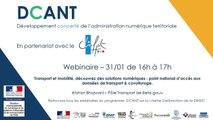 Webinaire DCANT #14  – Transport et mobilité, découvrez des solutions numériques