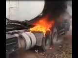 Carreta pega fogo na PB 030 em Pedras de Fogo