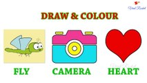 Camera, Heart Drawing and Colouring for kids  | Fly drawing for children | Art Breeze # 7 | Learn Drawing and Colouring for kids