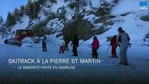 Skitrack à la Pierre Saint Martin, les skieurs tractés par une dameuse