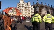 Kids climate protest blocks off Parliament Square