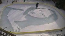 Il recrée à la perfection le portrait de Mona Lisa dans la neige