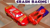 Hot Wheels Race Off Disney Pixar Cars Crash Racing with DC Comics Justice League & Marvel Avengers 4 Superheroes along with Toy Story 4 Rex and PJ Masks Catboy