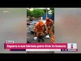 Niño espera a sus héroes con uniforme para tirar la basura   Noticias con Yuriria