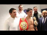 TONY BELLEW, DAVID PRICE, DAVID COLDWELL, GAVIN McDONNELL WITH JAMIE McDONNELL AFTER VARGAS WIN