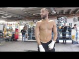 JAMES DEGALE STRETCHING & SHADOW BOXING FOR THE CAMERA'S / DeGALE v JACK